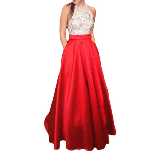 Halter Sleeveless Sequins Prom Dress