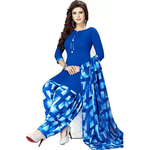 Jevi Prints Crepe Geometric Print Salwar Suit