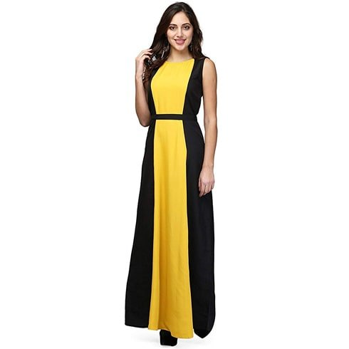 Mustard And Black Colour Black Maxi Dress