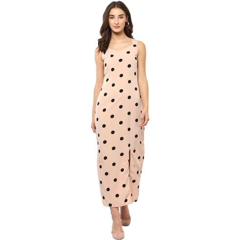 Polka Dotted High Slit Maxi Dress