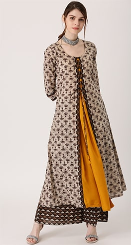 Beige and Mustard Yellow Layered Kurta