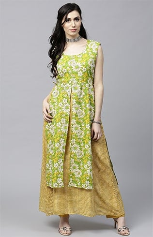 Green and Yellow printed A-Line Kurta