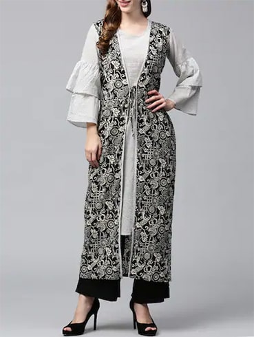 Monochrome Cotton Layered Kurta
