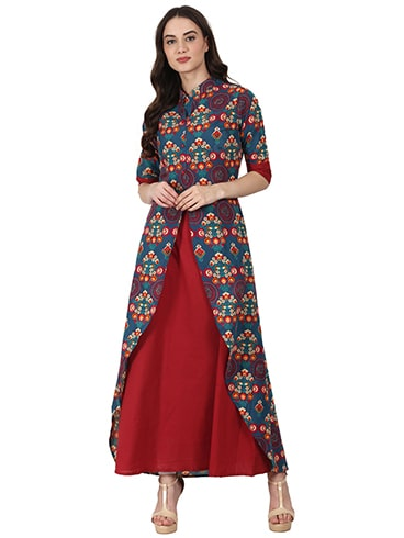 Red and Teal Blue Printed Layered Kurta