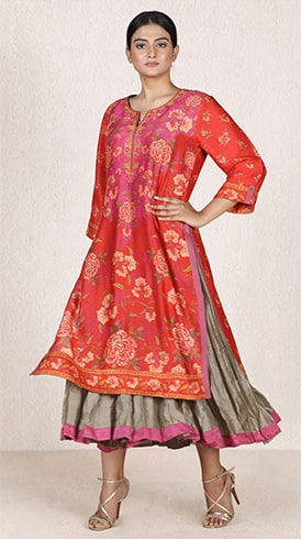 Red Printed Layered Kurta