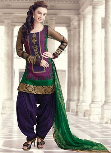 Scoop Neck Patiala Salwar Suit
