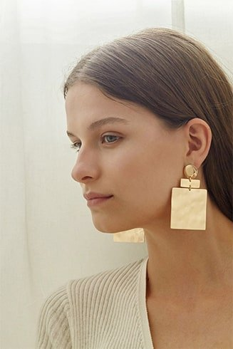 Square Earrings with Crinkled Gold Effect