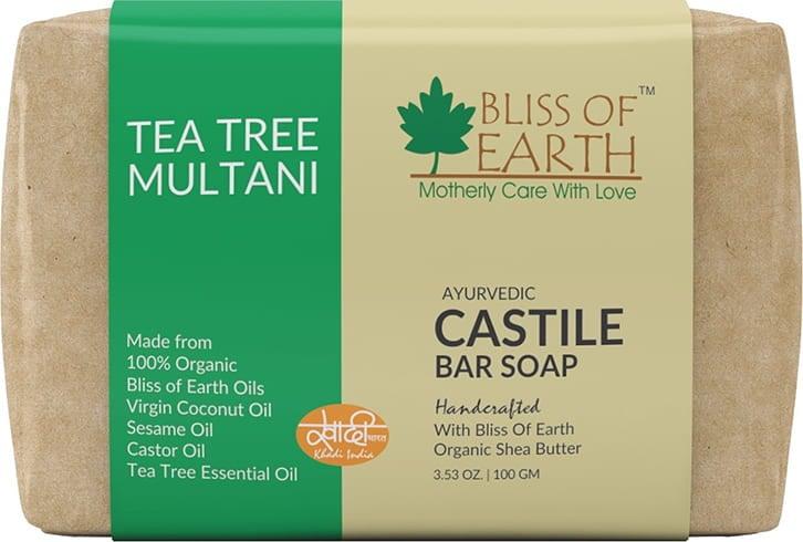 Bliss of Earth Organic Tea Tree and Multani Ayurvedic Handmade Soap