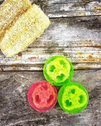 Leikhok Lime Basil Essential Oil Loofah Soap