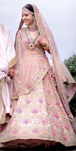 Delicate Embroidered Peach Lehenga
