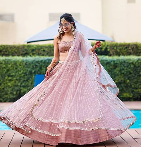 Peach Lehenga with Embellishments