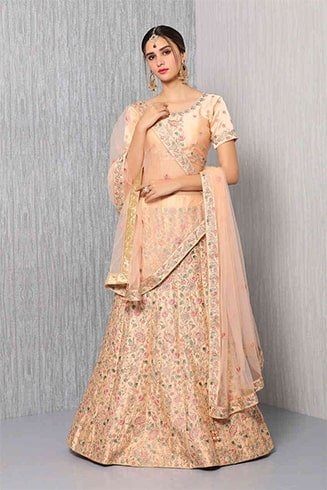 Satin Peach Lehenga with Zari Embroidery