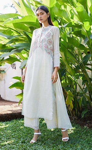 Anita Dongre Floral Embroidered Chanderi Kurta
