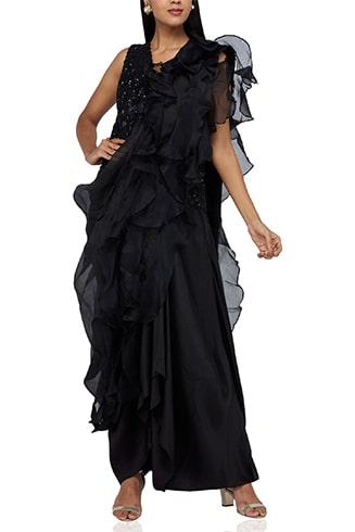 Black Ruffled Drape Saree