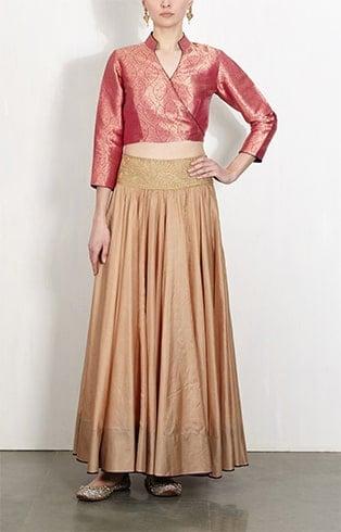 Brocade Blouse with Silk Skirt