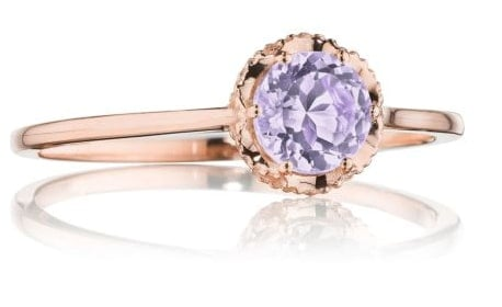 Gem Ring with Rose Amethyst Crystal