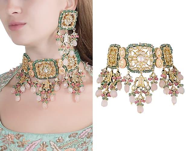 Gold Finish Choker Necklace