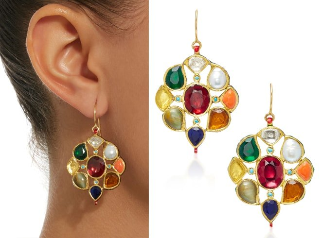 Gold Navaratna Earrings