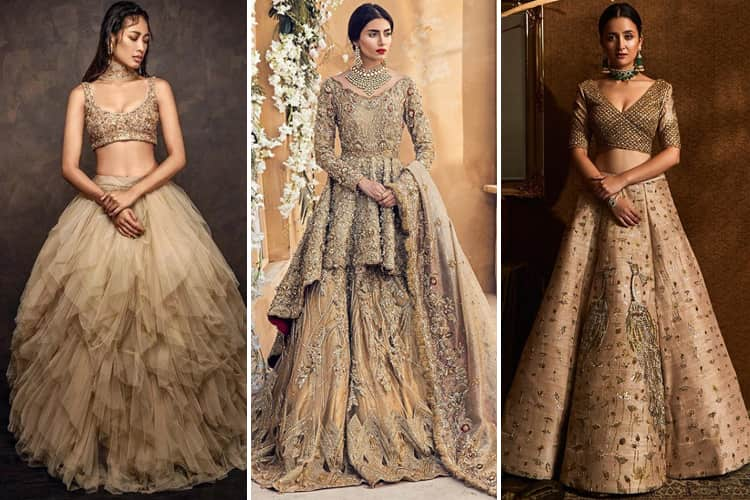 Golden Bridal Lehenga Designs