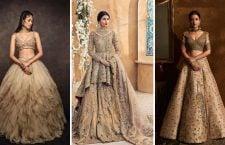 Golden Bridal Lehenga Designs