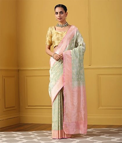 Handwoven Saree with Kadhiyal Border