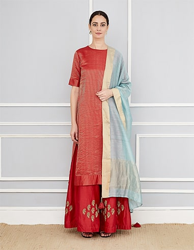Kurta Set with Draped Dupatta