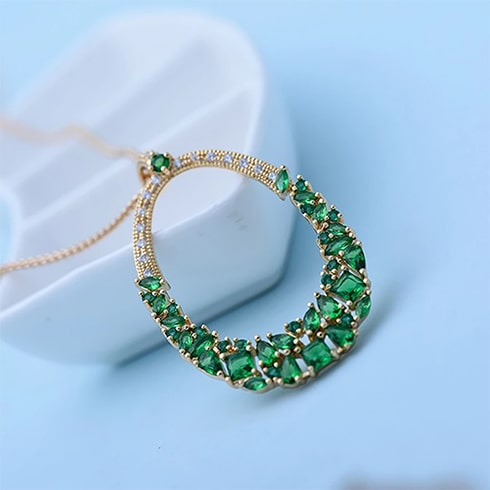 Marquise Cut Green Crystal Pendant