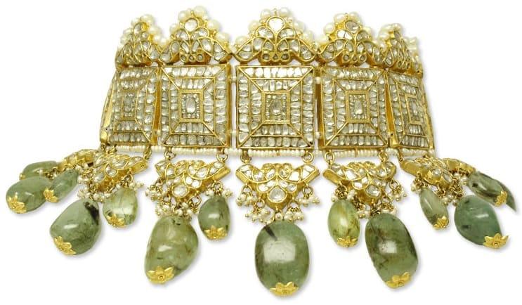 Multi-Crescent Choker with Russian Emerald Drops