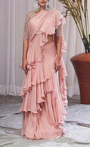 Pink Chiffon Ruffle Saree
