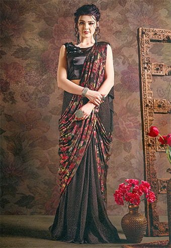Floral Printed Readymade Saree