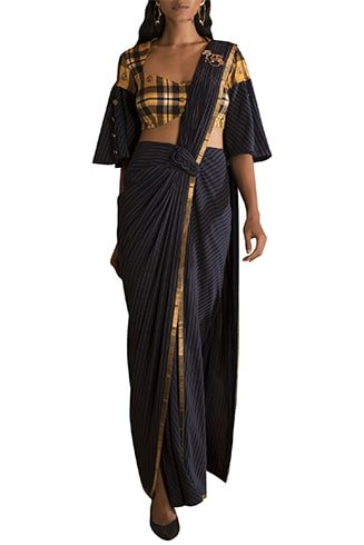 Pre-stiched Striped Blue Saree