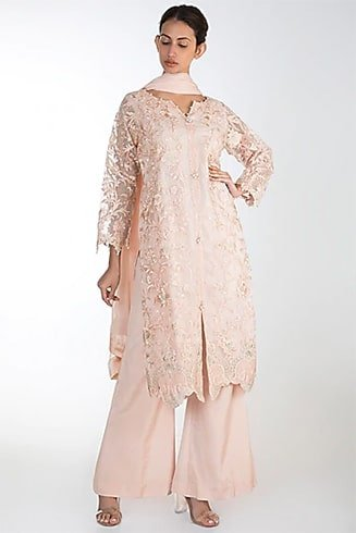 Rozina Peach Embroidered Kurta Set