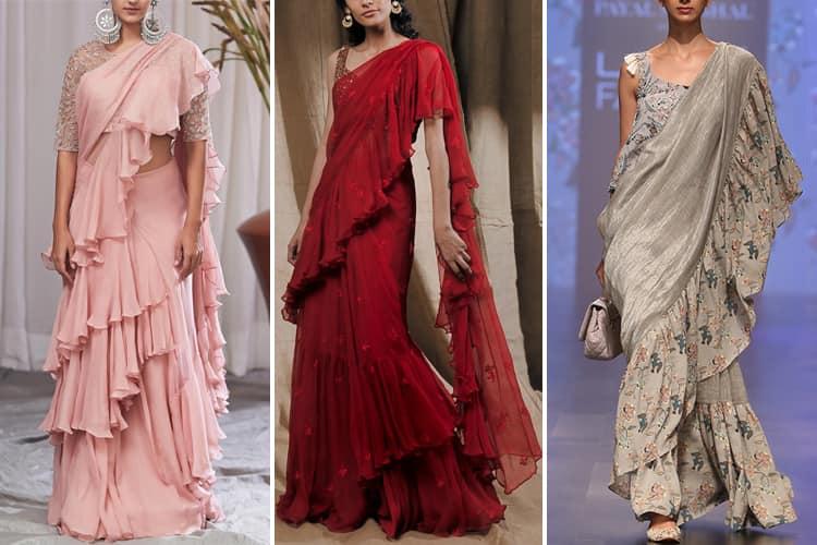 Latest Ruffle Saree Designs