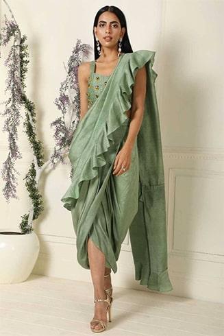 Sage Green Silk Base Ruffle Saree