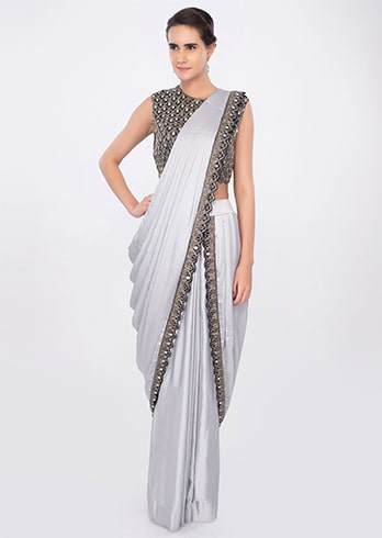 Silver Readymade Saree