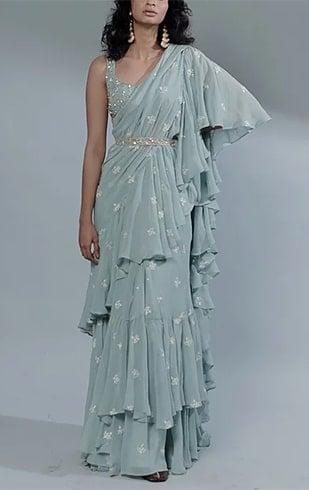 Sky Blue Drape Saree Set