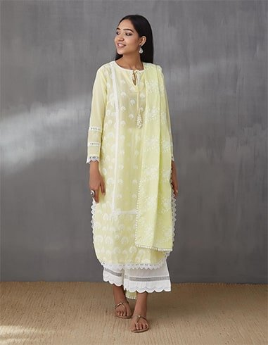 Yellow Snowdrop Kurta With Scallop Pants