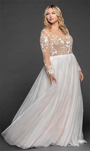 A Line Gown with Illusion Floral Beaded Bodice