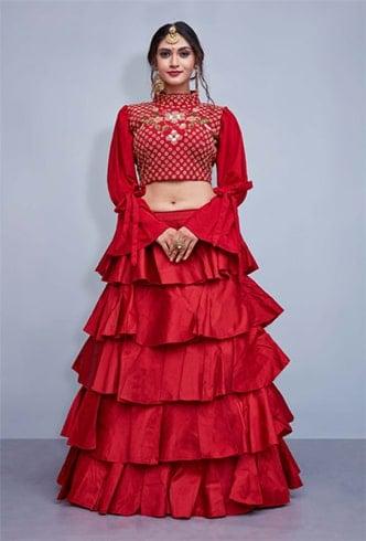 Art Silk Red Lehenga