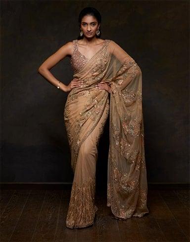 Embellished Golden Saree