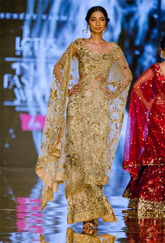 Embroidered Sheer Gold Saree
