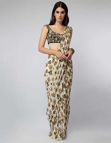 Emerald Embroidered Choli with Floral Printed Saree