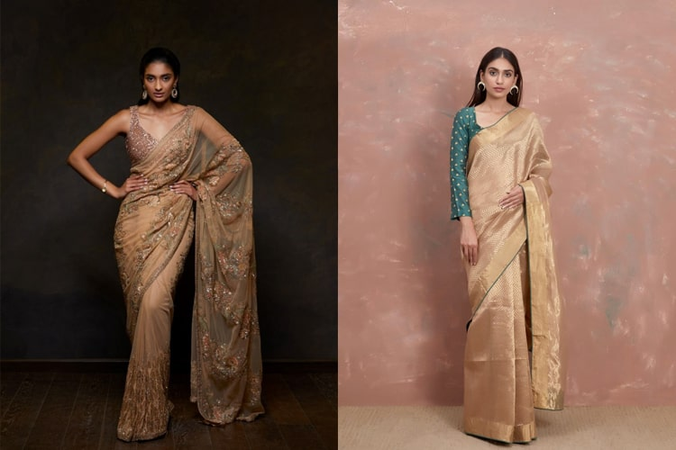 Golden Saree Designs For Diwali