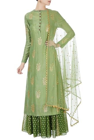 Green Sequined Kurta with Skirt and Net Dupatta