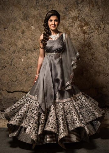 Grey and Silver Embroidered Lehenga