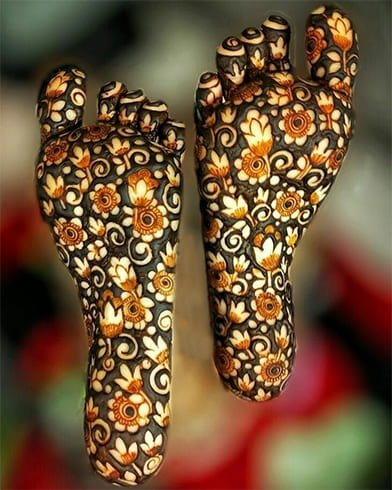 Henna Designs on the Sole of Foot