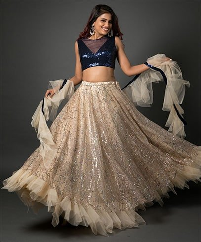 Multi Colored Beige Ruffled Lehenga