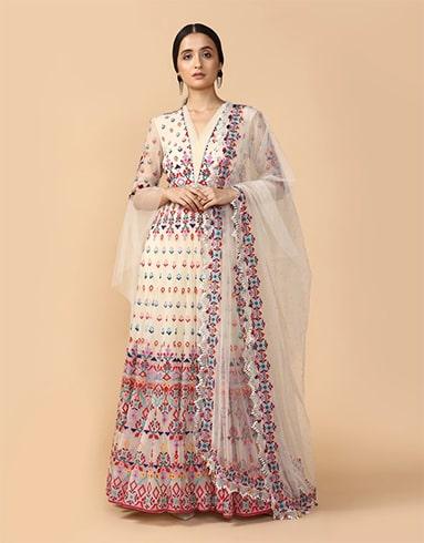 Multi-Colored Thread Embroidered Anarkali