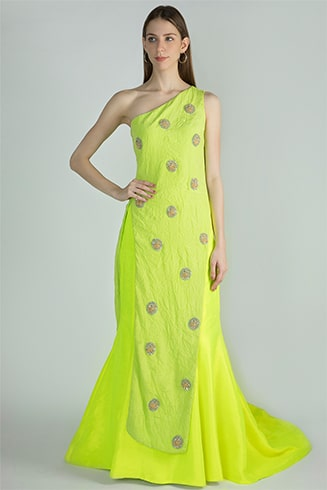 One-Shoulder Asymmetric Embroidered Top and Neon Lehenga