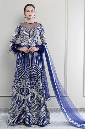 Royal Blue Chrome Applique Anarkali with Dupatta
